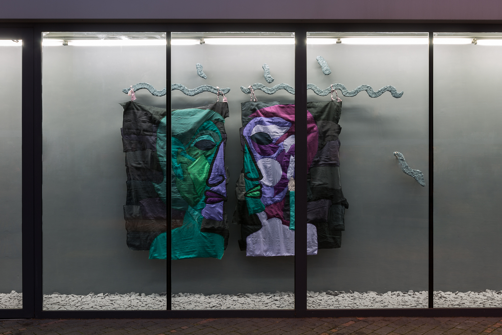 Alfie Strong, Lamia my Reflection, 2018. Silk, cotton, cotton thread, papier-mâché, water from Gormire Lake. 250 x 200 x 10 cm. Photographer: Ollie Harrop.