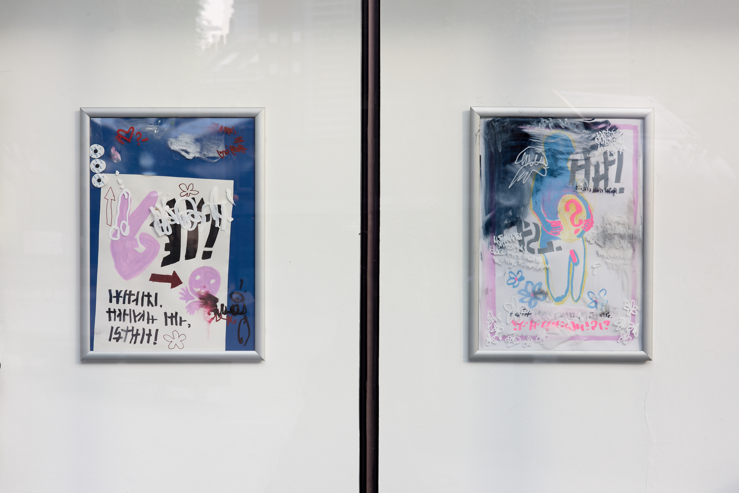 Jesse Darling, Untitled (waiting room poster/municipal hospital series), 2017. Ink on paper, ink on plastic, with aluminum frame. VITRINE, London. Photographer : Jonathan Bassett.