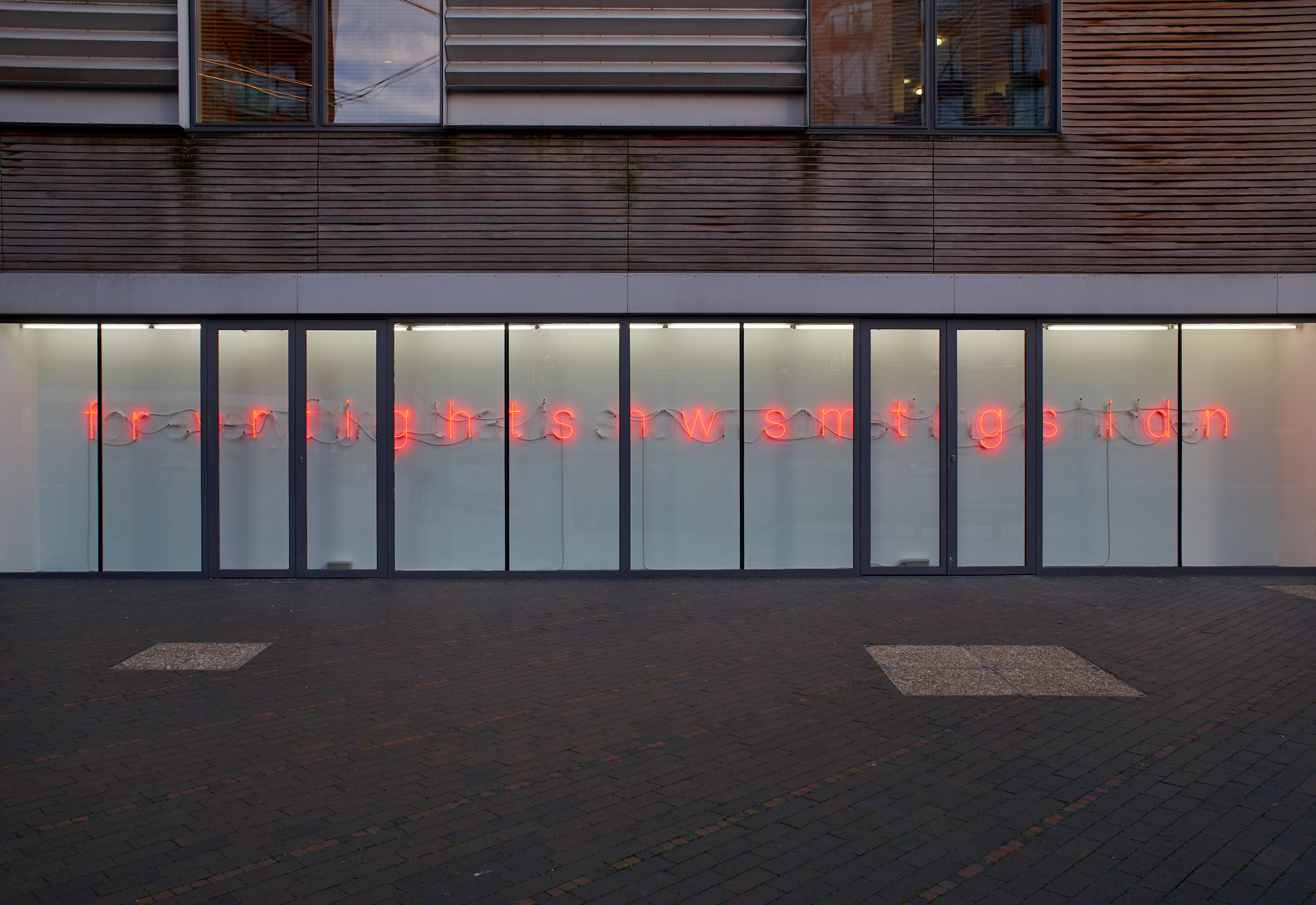 Tim Etchells, For Everything, 2018. Neon. Two transformers. 116 x 37 cm. Edition of 3 (1 AP). Photographer Jonathan Bassett.