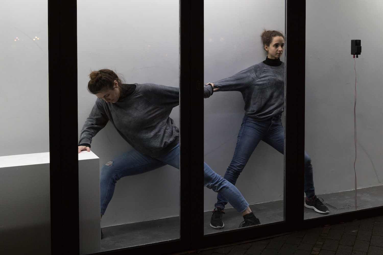 Nicole Bachmann, full stop slightly high, 2020. Performance / Installation view. Performed by Noa Genazzano and Aurore Vigneron. VITRINE, London.