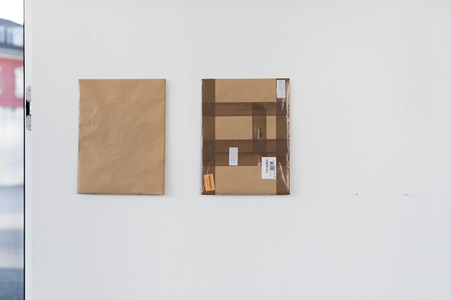 Wil Murray, Well Eel 1, and, Well Eel 1. Acrylic Paint, Kraft Paper, Mylar, Lighting Gel, Svema 64 Black and White Negative, Card, Masking Tape, Packing Tape. 41 x 31 cm each. Photographer: Nicolas Gysin.