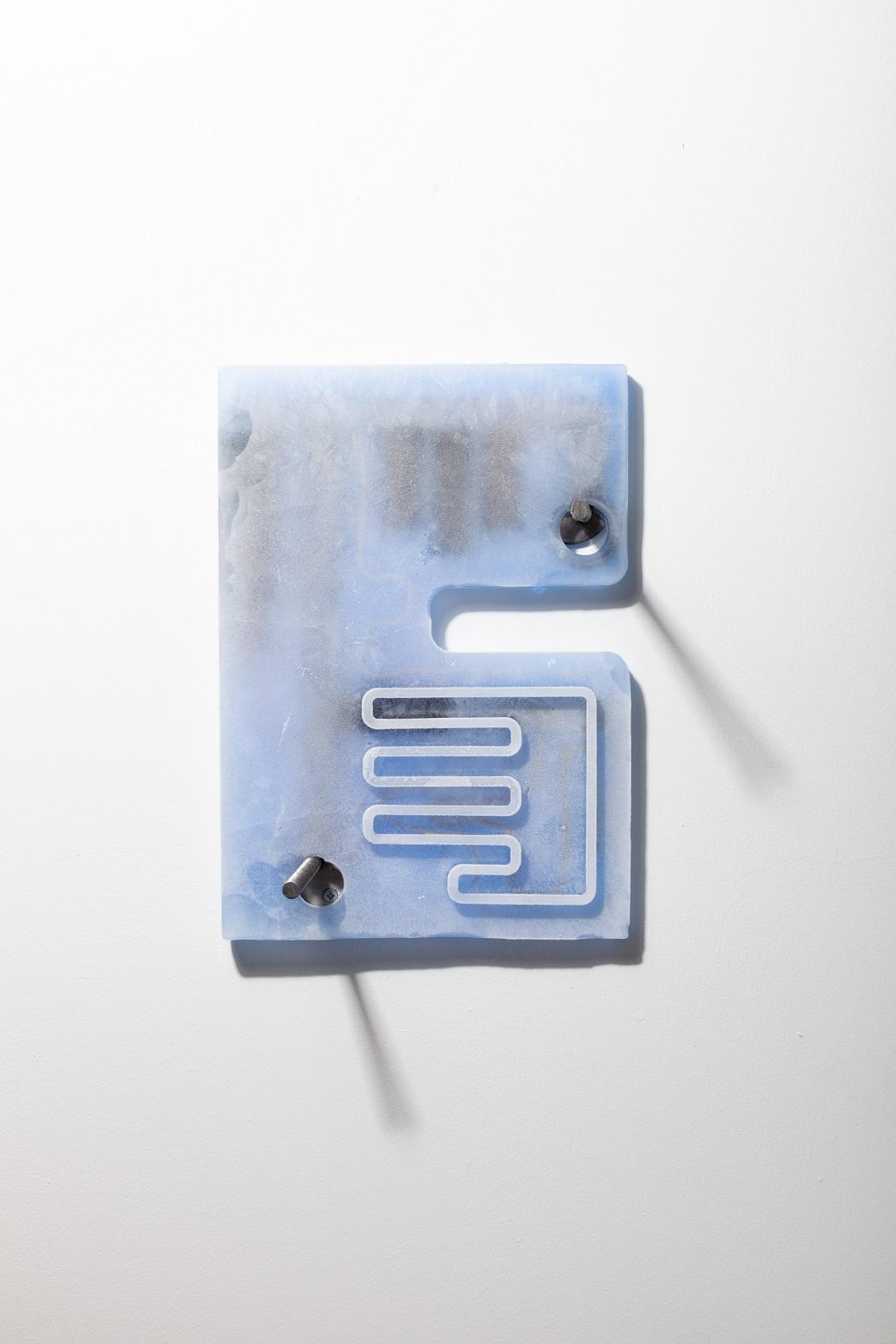 Rafal Zajko, Blue (collar), 2018. Ice, pigment, denim, brass, silver, gold, steel, cotton tread, tension springs. 34 x 24 x 10 cm.