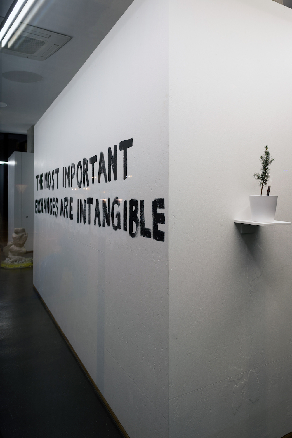 If it's not meant to last, this it's Performance, 2019. Installation view, DAY ONE. Tim Etchells, Further Provocations, and, Paul Hage Boutros, Rethinking The Fundamentals. VITRINE, Basel. Photographer: Nicolas Gysin.