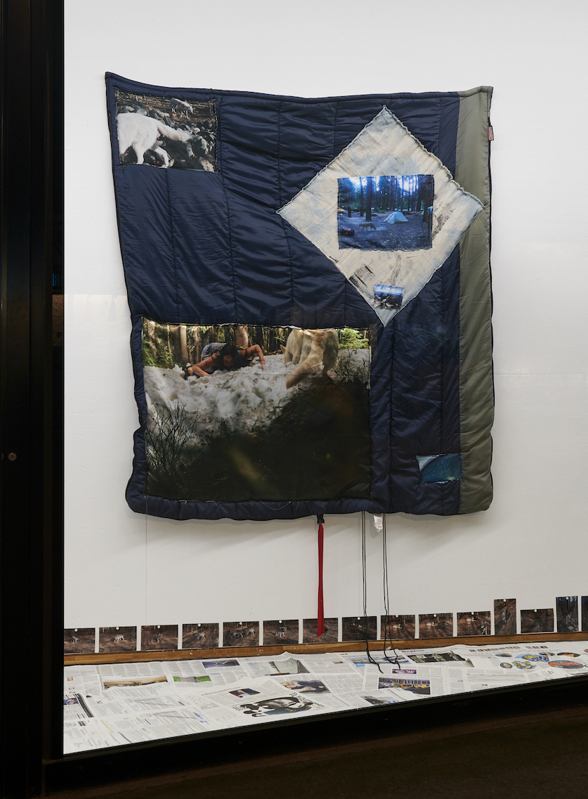 Suzanna Zak, Commemorative Sleep: Continental Divide Snow Lick with Lady (Durational Until Numb), 2020. Sewn photo printed on silk, sleeping bag. 182 x 170 x 2 cm. VITRINE, Basel. Photographer: Nici Jost.