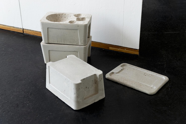 Nadim Abbas, Poor Toy, 2019. Custom made mattresses, mattress covers, dentures, PVC, vacuum bag, cast concrete, toilet roll, carpet. Dimensions variable.  Photographer Nici Jost.