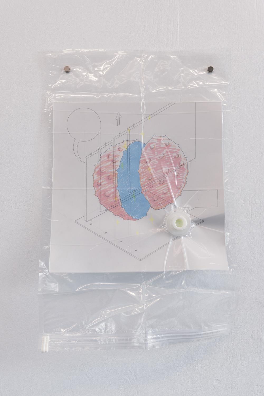 Nadim Abbas, Poor Toy (Particulate), 2019. Vacuum bag, vellum, paper, pencil, marker. 70 x 45 cm. Photographer Nici Jost.