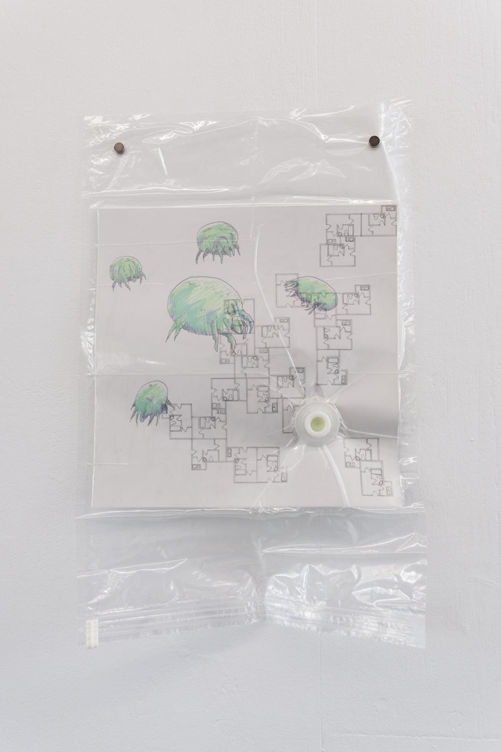 Nadim Abbas, Poor Toy (Dust Mite), 2019. Vacuum bag, vellum, paper, pencil, marker. 70 x 45 cm. Photographer Nici Jost.