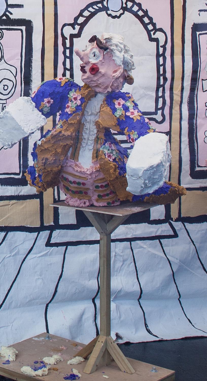 Jamie Fitzpatrick, Blue Stag, 2018. Wax, polystyrene, polyurethane, scrim, wood, steel and castors. 134 x 94 x 100 cm. Photographer: Nicolas Gysin.