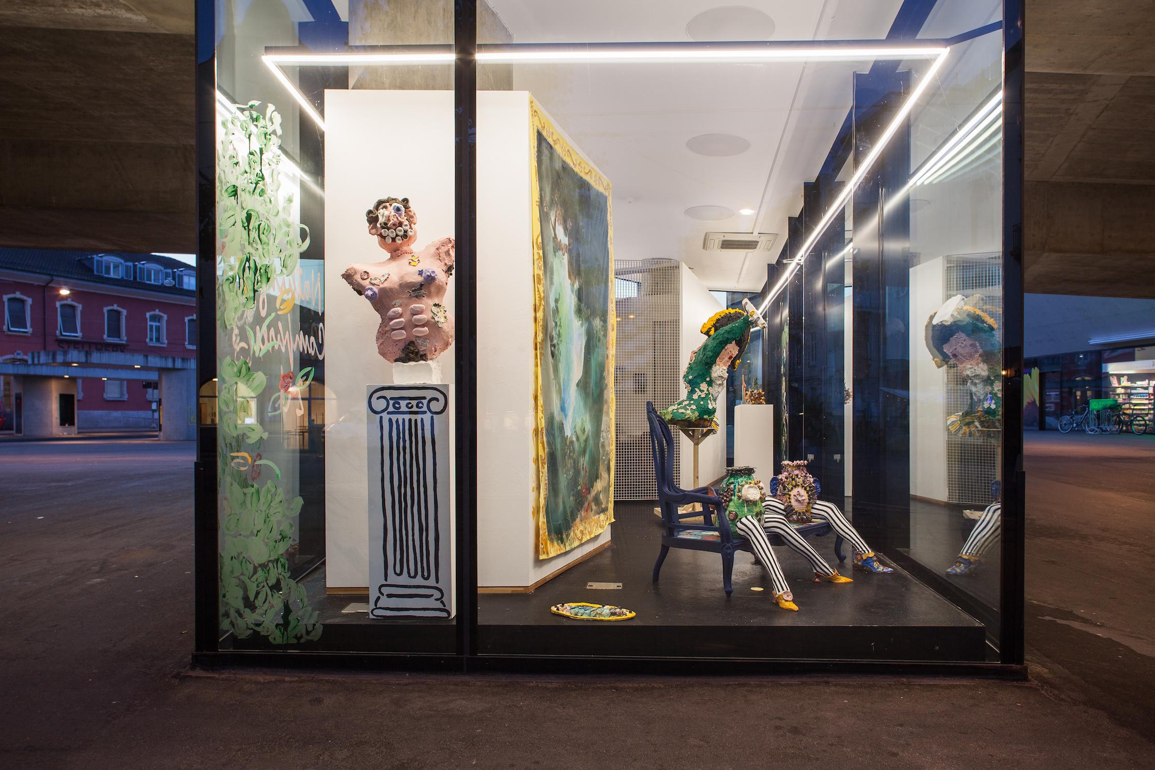 Jamie Fitzpatrick & Lindsey Mendick, SMUT, 2018. Installation view. VITRINE, Basel. Photographer: Nicolas Gysin.