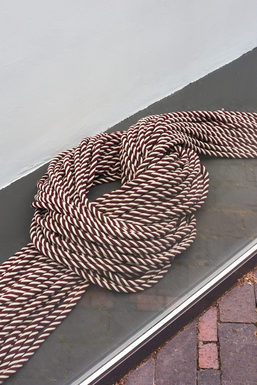 Kato Six, State of Matter - rope, 2019. Red and white cotton rope. 300 m. Photographer Jonathon Bassett.