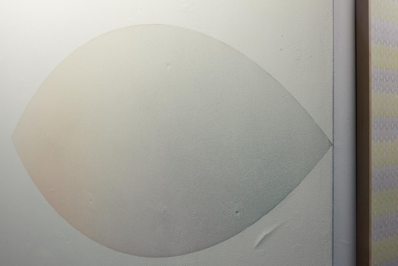 Kato Six, State of Matter - dust, 2019. Dust from coloured mdf. 165 x 75 cm. Photographer Jonathon Bassett.