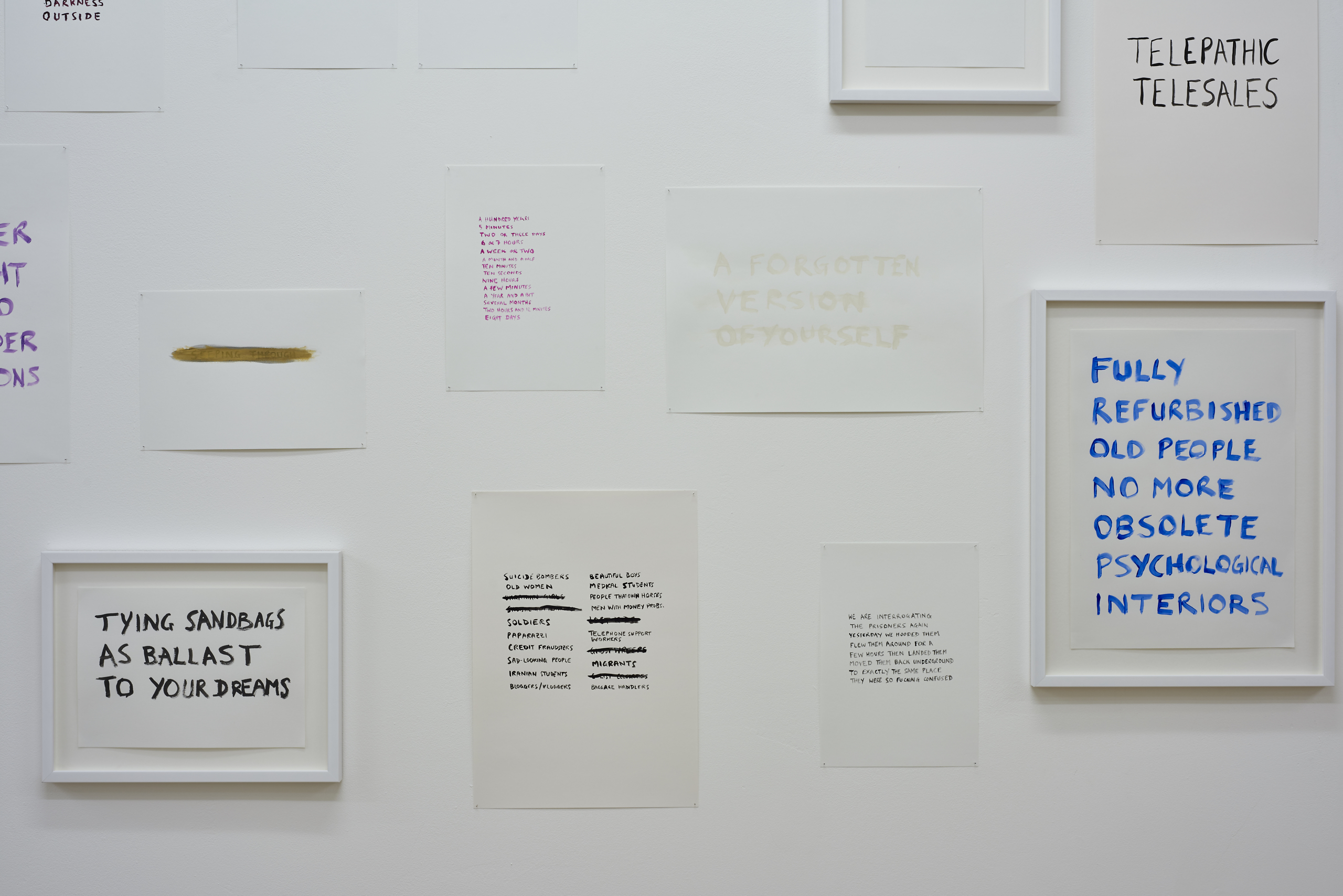 Tim Etchells, Facts on the Ground, 2015. Installation view. VITRINE, London (Bermondsey Street). Photographer: Jonathan Bassett.