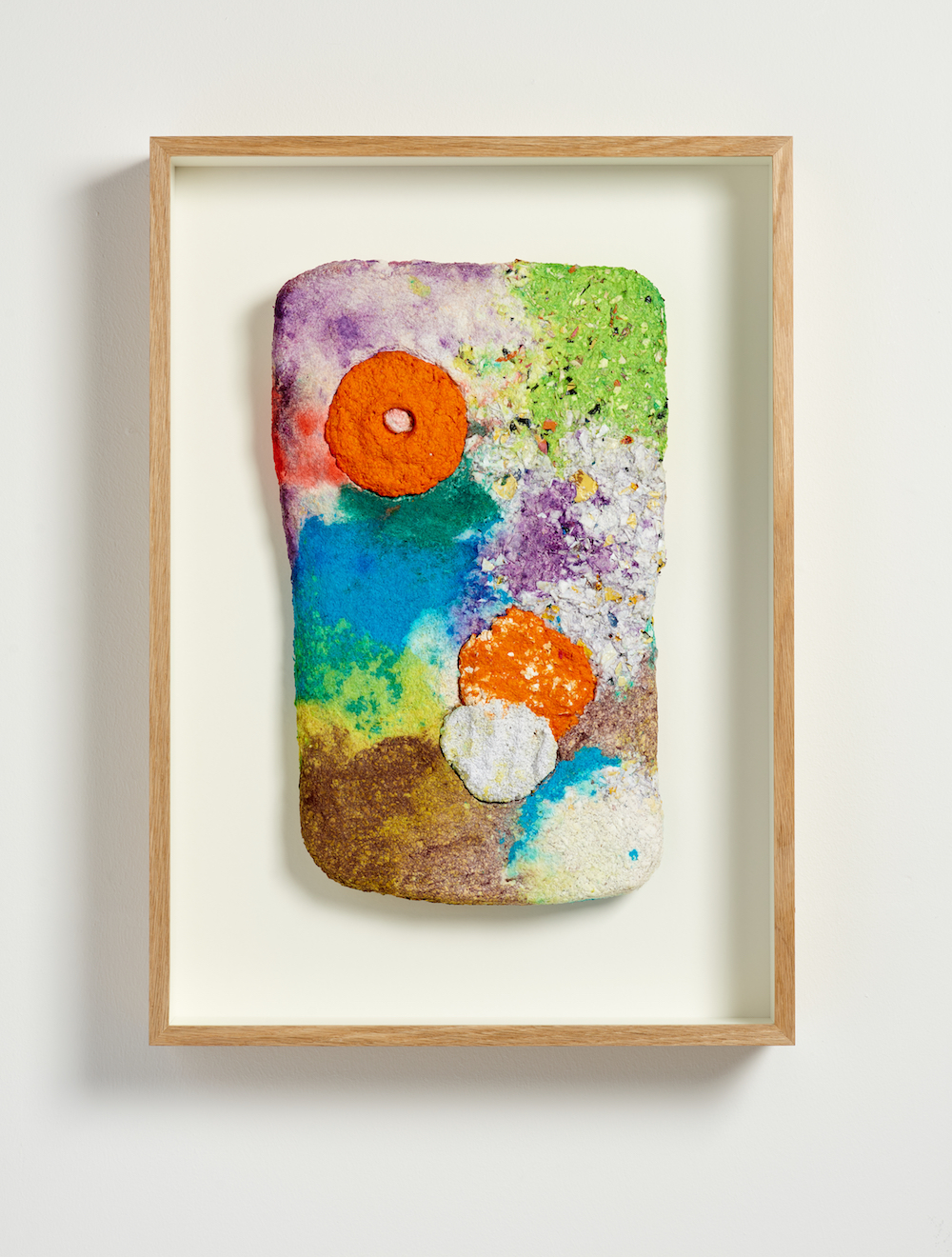 Ludovica Gioscia, Temporal Tablet 6, 2019. Paper mache made from mixed media* in oak frame. 65.5 x 46.5 x 9 cm. Photographer Jonathon Bassett.