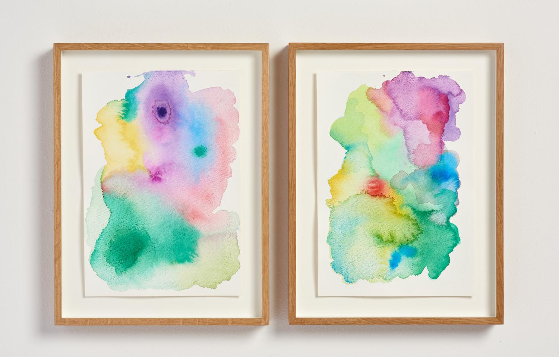 Ludovica Gioscia, Aura 1 & Aura 2, 2019. Watercolour on watercolour paper in oak frame. Each framed work measures 31.5 x 24 x 4 cm. VITRINE, Basel. Photographer Jonathon Bassett.
