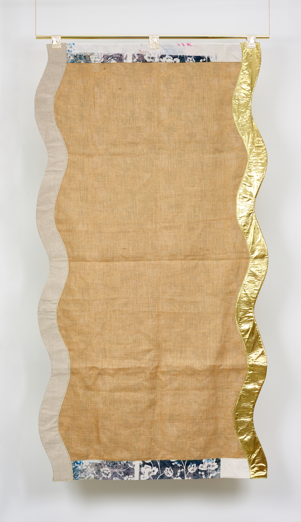 Ludovica Gioscia, Portal 19, 2019. Fabric, thread and metal pole. 234 x 120 cm. Photographer Jonathon Bassett.