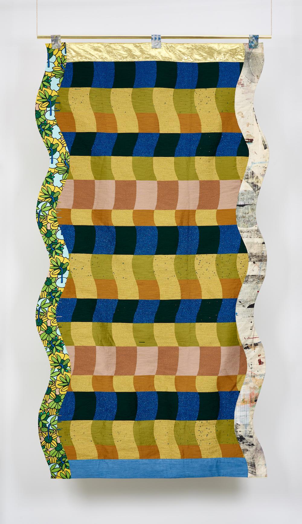 Ludovica Gioscia, Portal 21, 2019. Fabric, thread and metal pole. 231 x 122 cm. Photographer Jonathon Bassett.