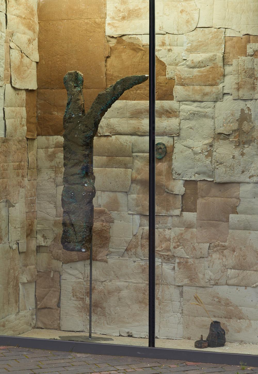 Emii Alrai, The Full Crescent, 2019. Steel armature, polystyrene, copper leaf, plaster, sand, clay, oxides, tar paint. Dimensions variable. Photographer Jonathan Bassett.