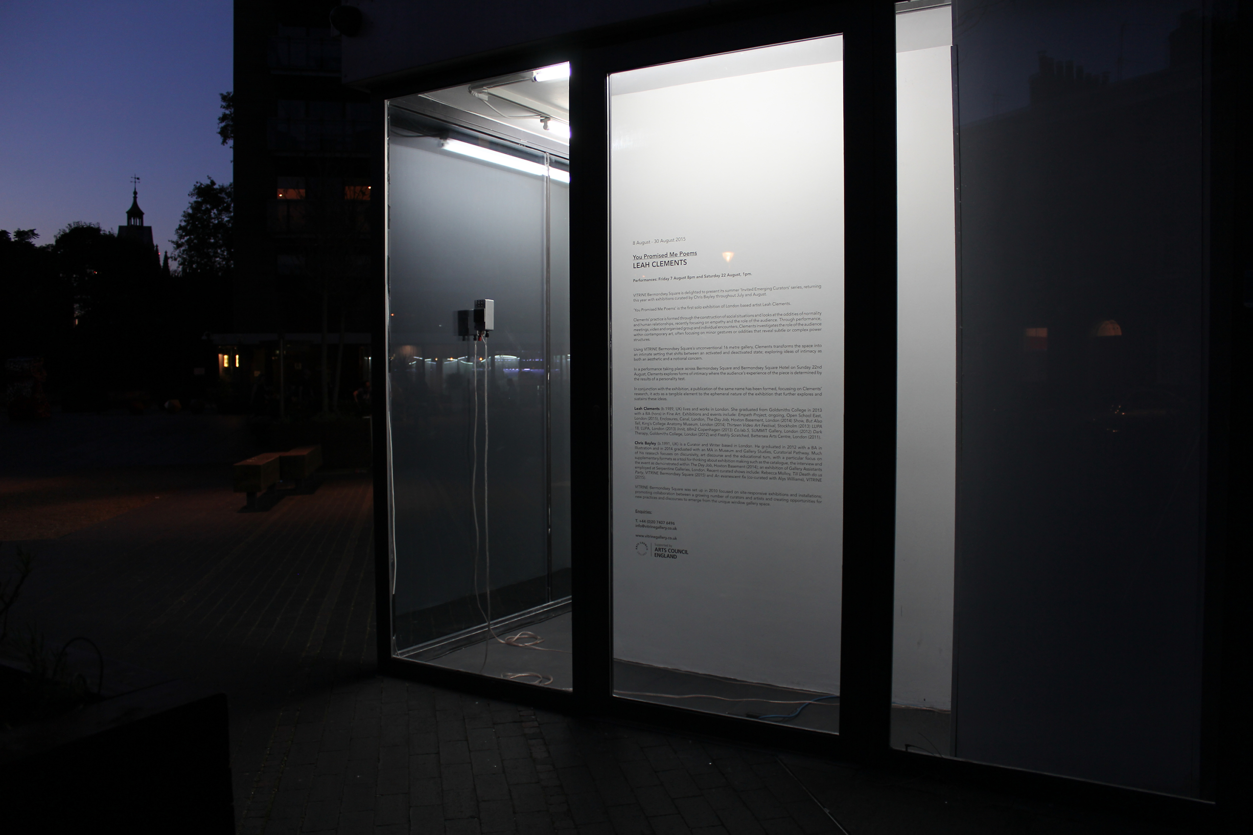 Leah Clements, You Promised Me Poems, 2015. Installation view. VITRINE, London.