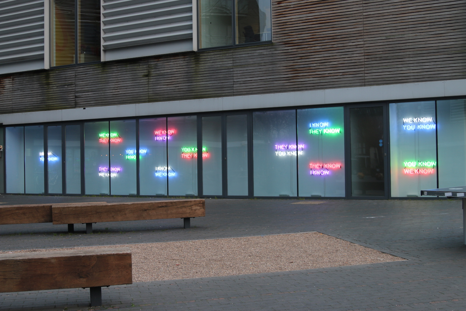 Tim Etchells, Who Knows, 2014. Neon (12 Pairs, 24 Phrases). Dimensions variable. Edition of 2 (+1 AP).