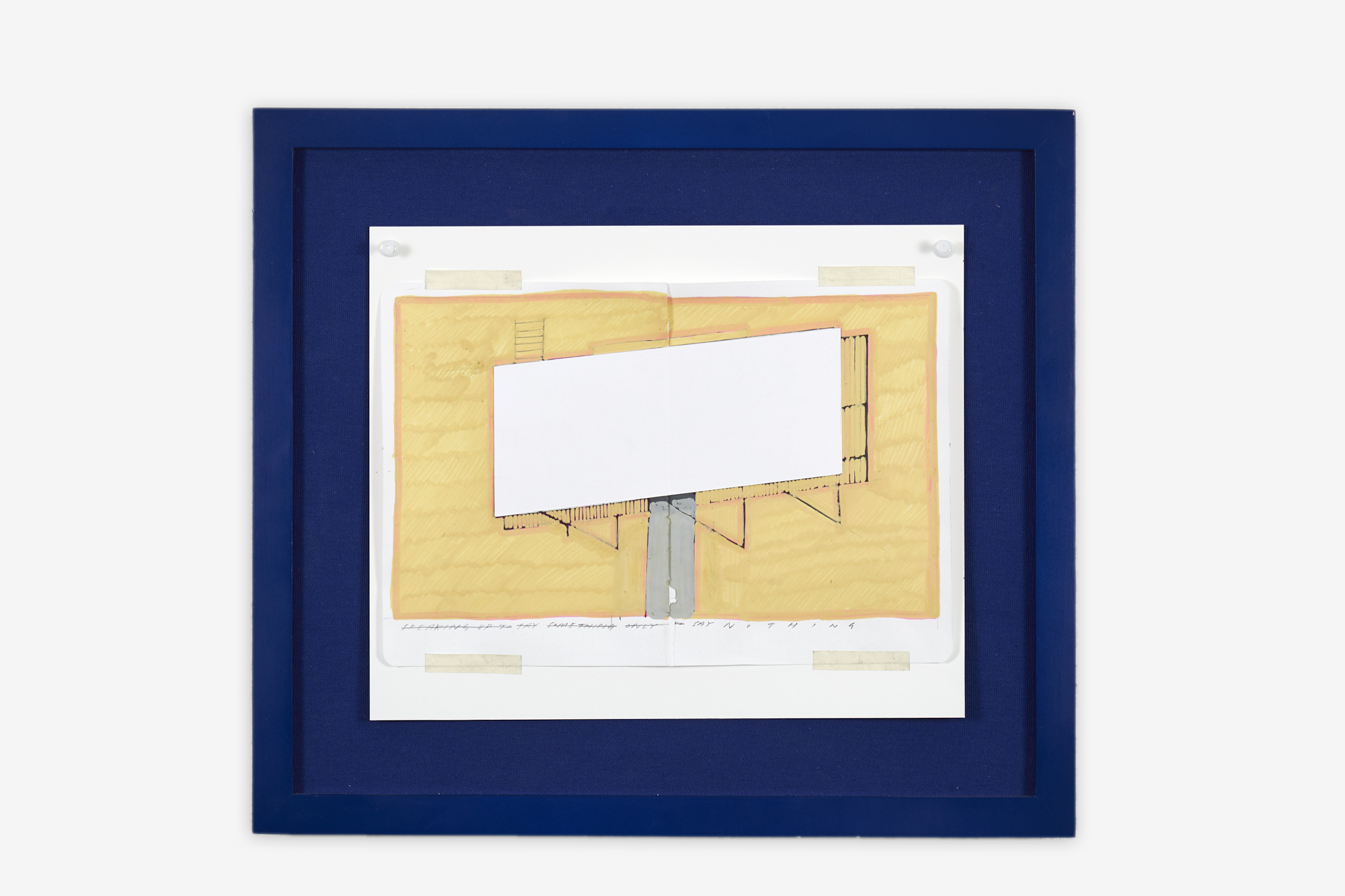 Charlie Godet Thomas, Study for Rooftop Poems, 2020. Acrylic, pen and pencil on paper, masking tape, pushpins, canvas, wooden frame. 37 x 41.5 x 3.5 cm.