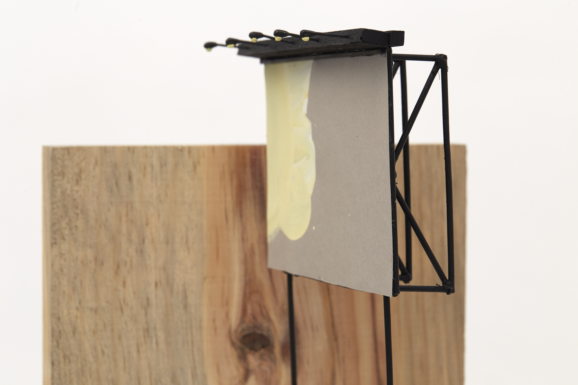 Charlie Godet Thomas, Rooftop Poem (Reap) (detail), 2020. Wood, cut section of paper palette, wooden dowels, plastic, screws, glue, acrylic paint. 124 x 24 x 26 cm.