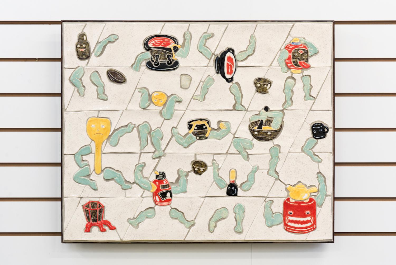 Kara Chin, Tsukumogami Tribute, 2019. Glazed ceramic, tile grout, timber, plywood. 60 x 70 cm.