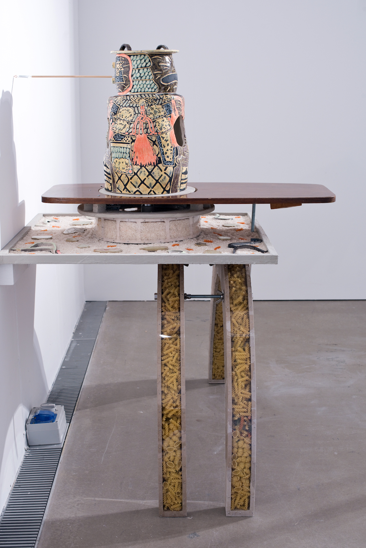 Kara Chin, Pasta Legs Starch Warrior, 2020. Mixed media*. 130 x 80 x 90 cm.