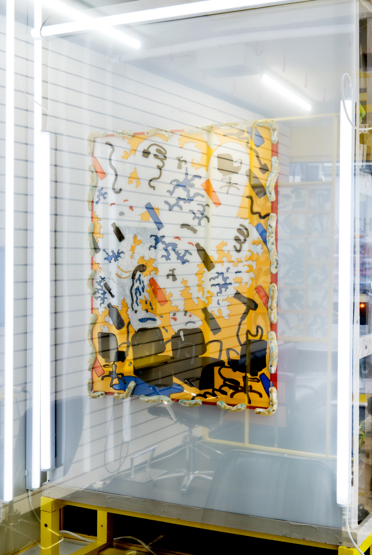 Kara Chin, A Couple of Haunted Backwash Units, 2020. Perspex, vinyl, glazed ceramics, timber. 60 x 45 cm.