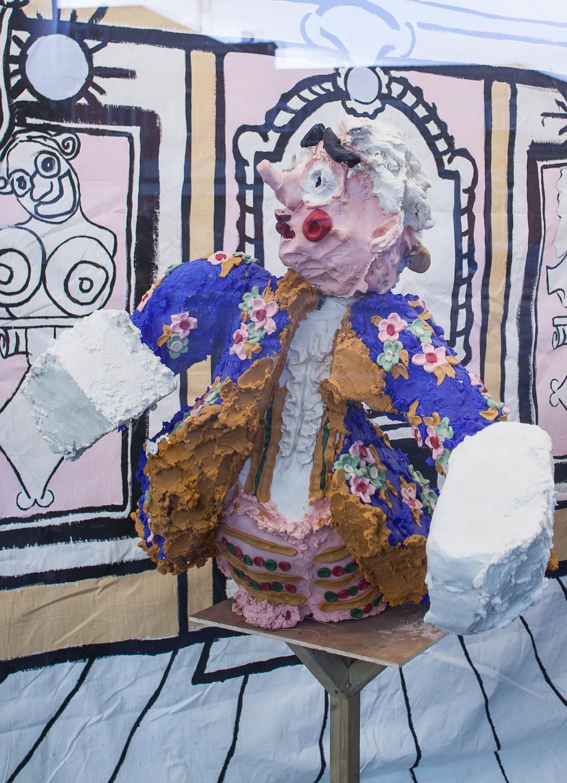Jamie Fitzpatrick, Blue Stag, 2018. Wax, polystyrene, polyurethane, scrim, wood, steel, castors. 94 x 131 x 100 cm.