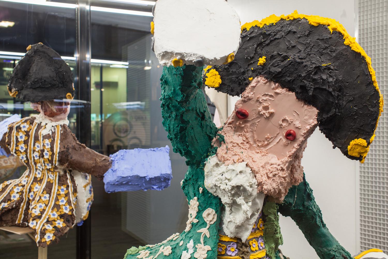 Jamie Fitzpatrick, Green Stag (detail), 2018. Wax, polystyrene, polyurethane, scrim, wood, steel, castors. 80 x 122 x 137 cm.