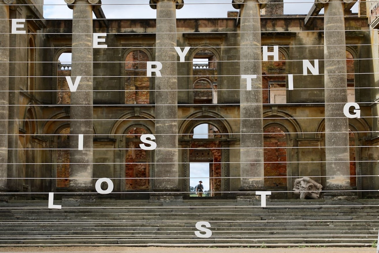 Tim Etchells, Everything is Lost (detail), 2018. Powder coated stainless steel. 200 x 300 x 290 cm. Witley Court, UK. Photographer: Stefan Handy.