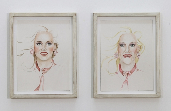 Justin Vivian Bond, My Model | MySelf: My Barbie Coloring Book, 2014. Watercolour, frame.