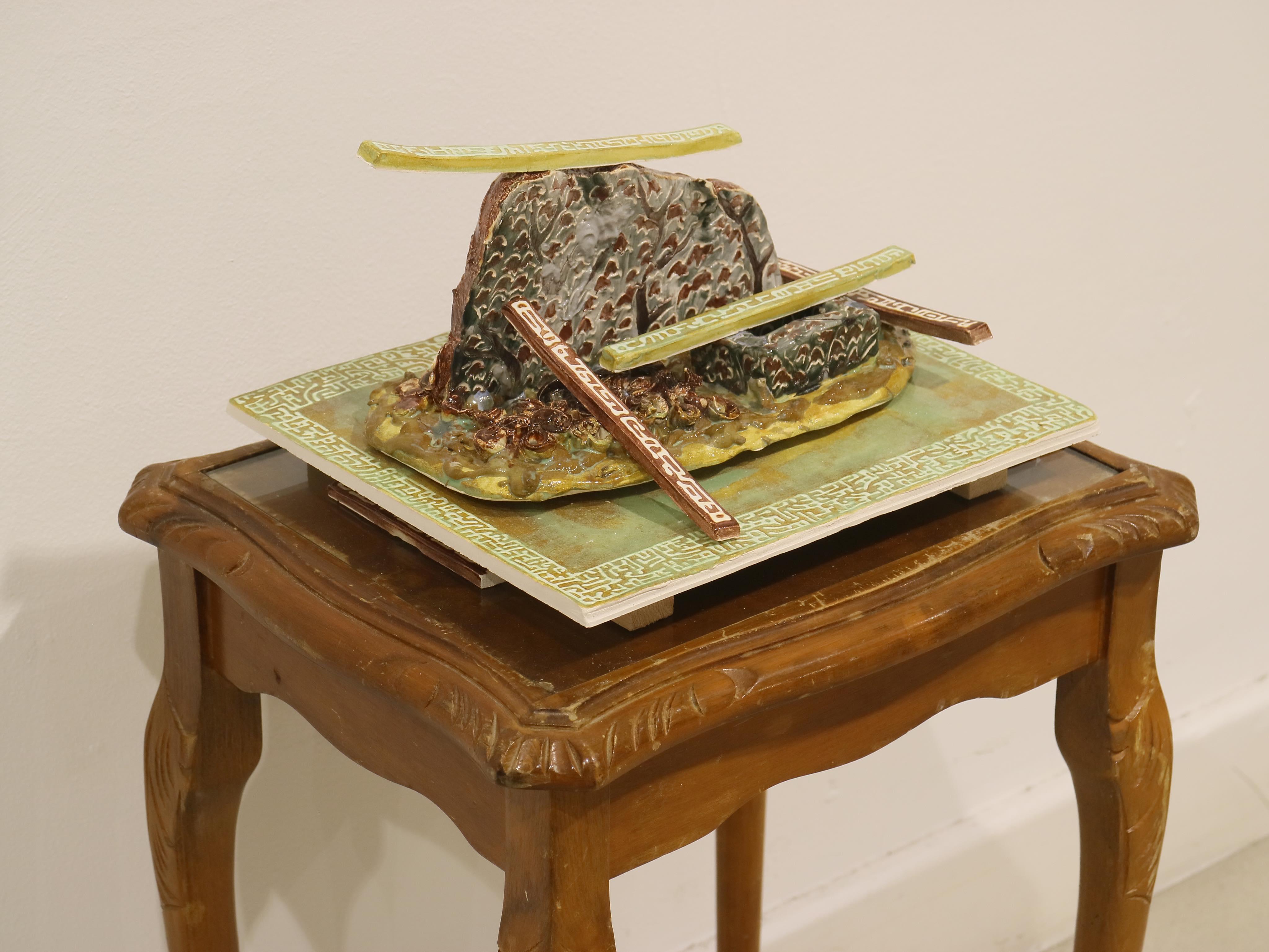 Kara Chin, Sticks on a Hill, 2020. Glazed ceramic. 20 x 25 x 20 cm.