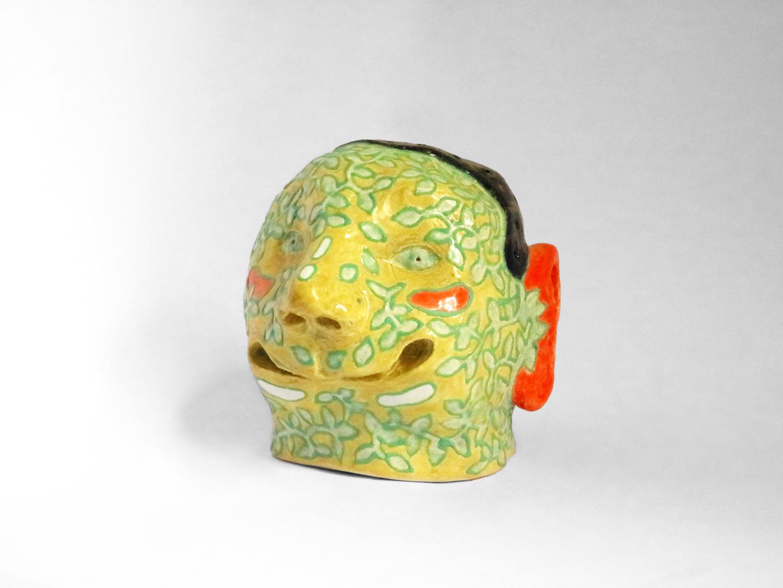 Kara Chin, Playdough Hair Head 2, 2020. Glazed ceramic. 9 x 9 x 9 cm.