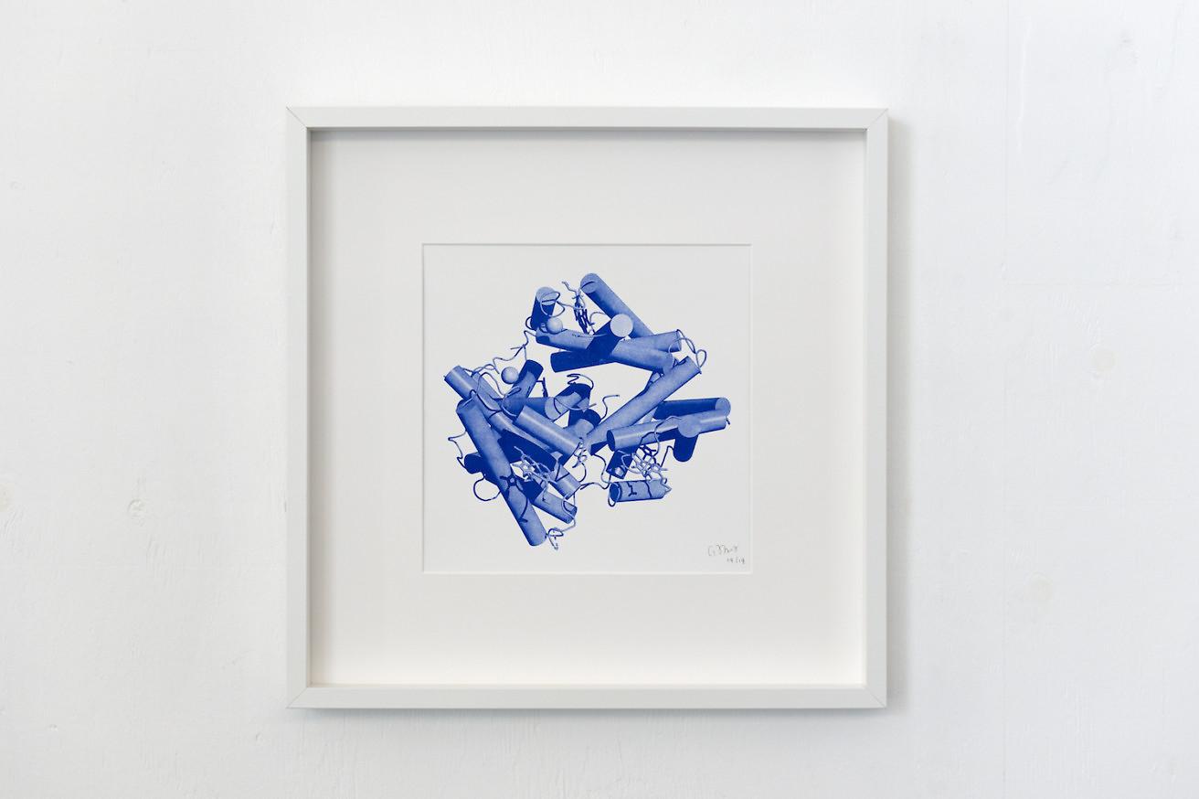 Nadim Abbas, Deoxyhaemoglobin (Homo Sapiens), 2017. Risograph on 200gsm acid free paper. Framed. 30 x 30 cm. Edition of 14 (+1AP).