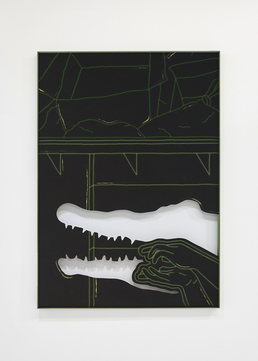 Milly Peck, Untitled, 2017. Emulsion on board. 113 x 85 x 5 cm.