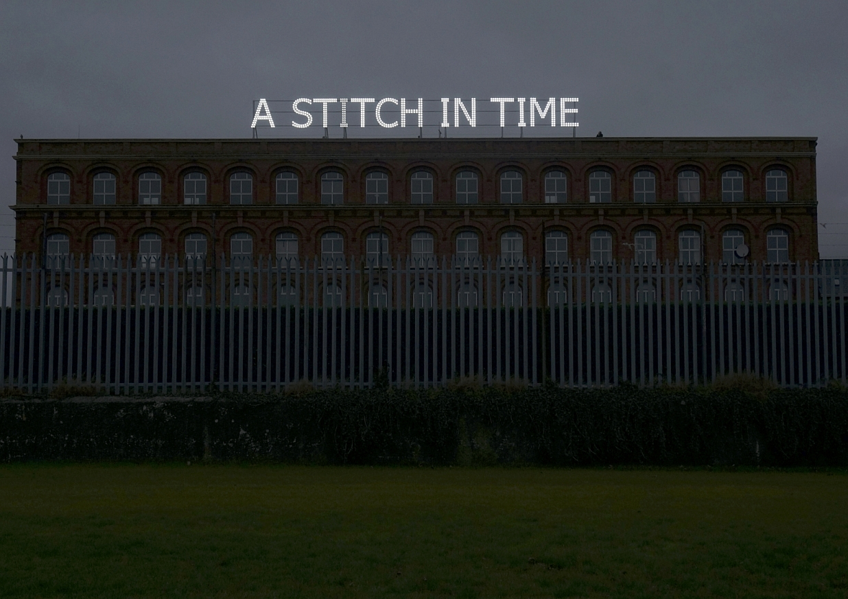 Tim Etchells, A Stitch In Time, 2014. Installation view. Lumiere Derry-Londonderry, NI.