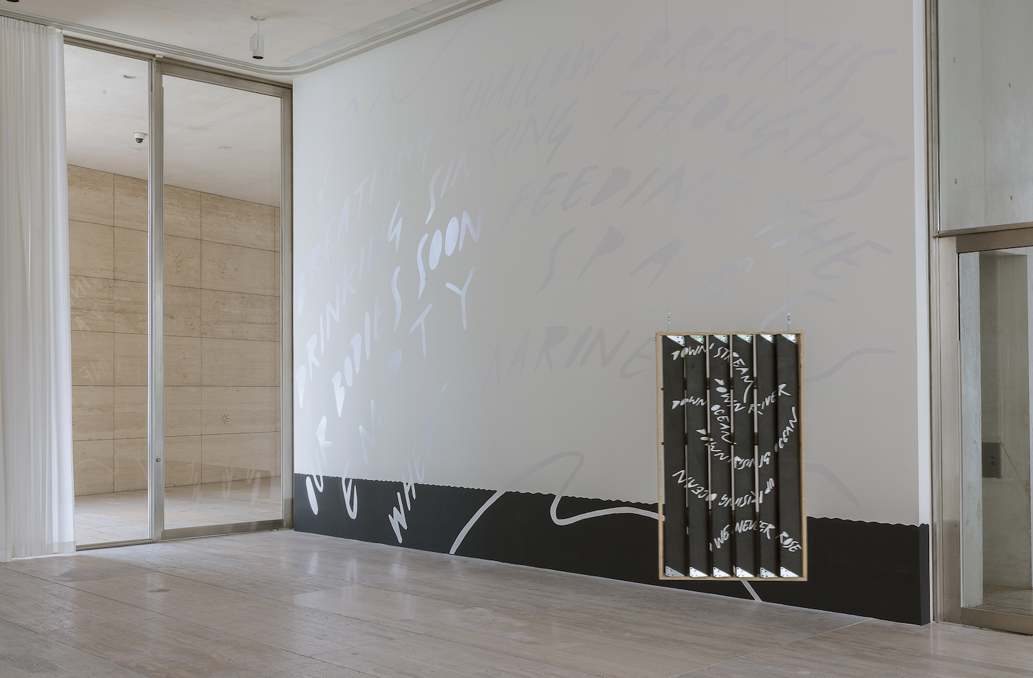 Charlie Godet Thomas, How to make a painting behave like a landscape, 2020. Installation view. Museo Jumex, Mexico City, MX.