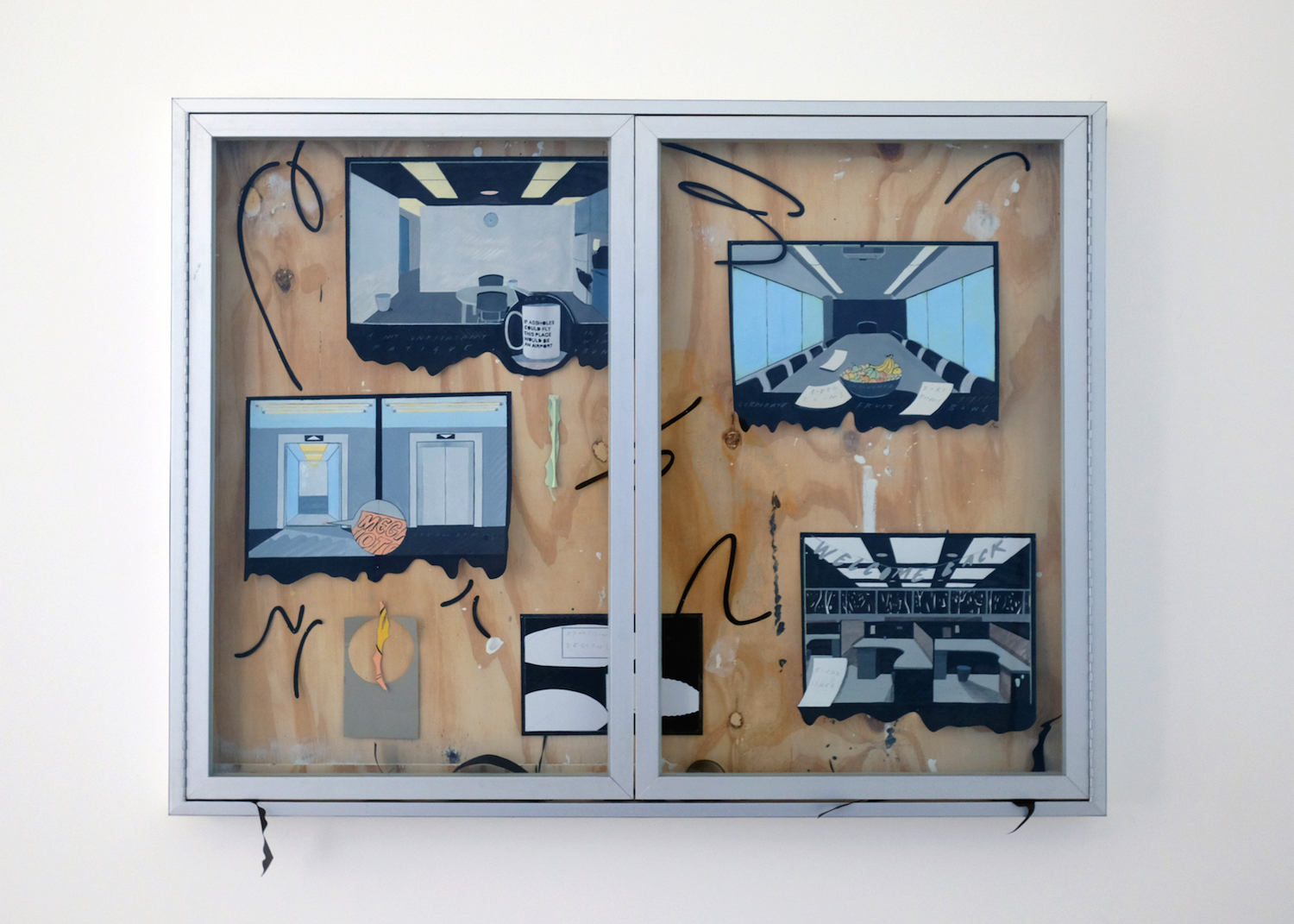 Charlie Godet Thomas, Composed and Improvised Poem, 2020. Acrylic paint and pencil on paper, paper fragments and pins in glazed aluminium cabinet, wood. 130 x 100 x 9 cm.