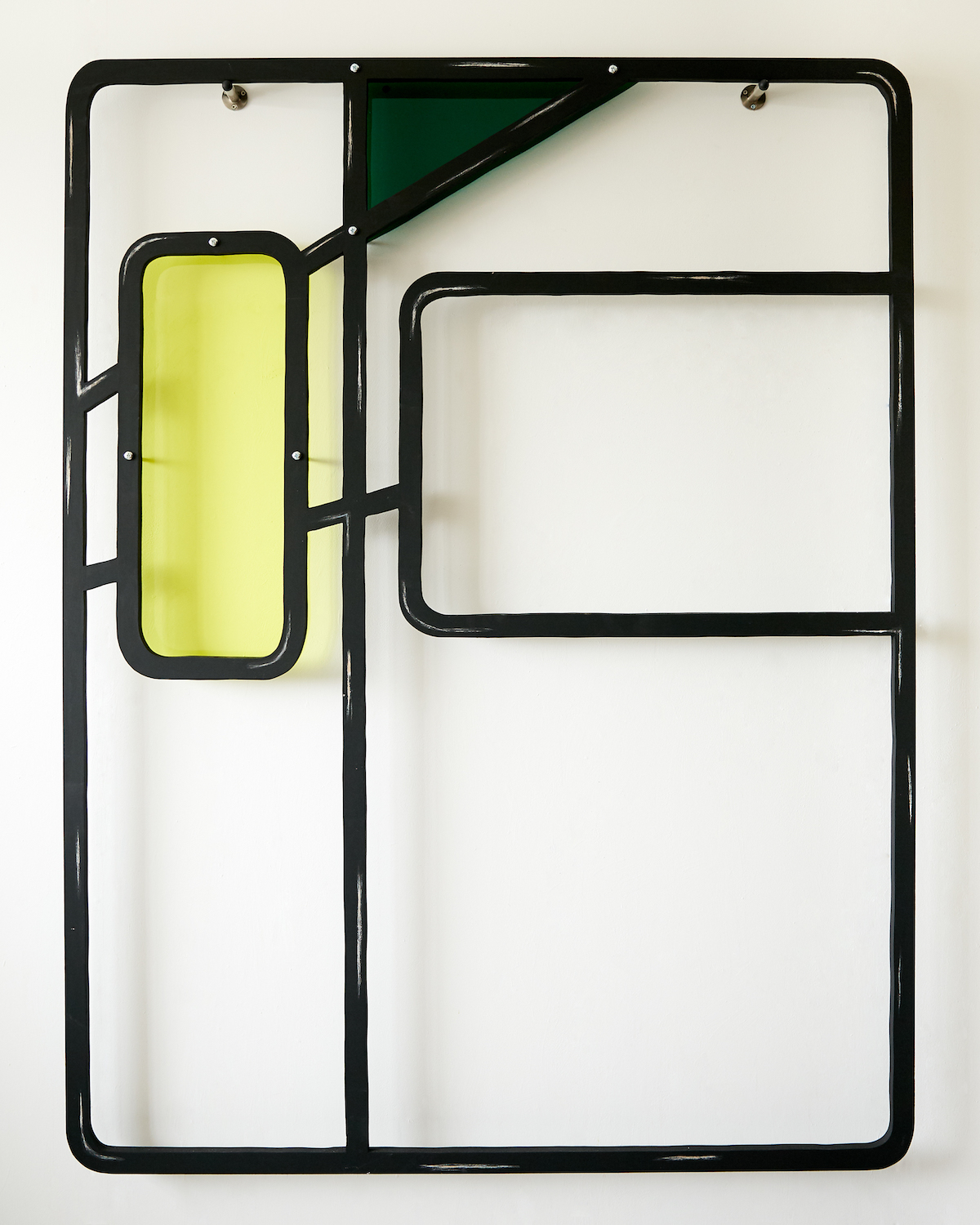 Milly Peck, Alight III, 2020. Emulsion on wood, perspex, coloured pencil, bolts. 161 x 122 x 7 cm.