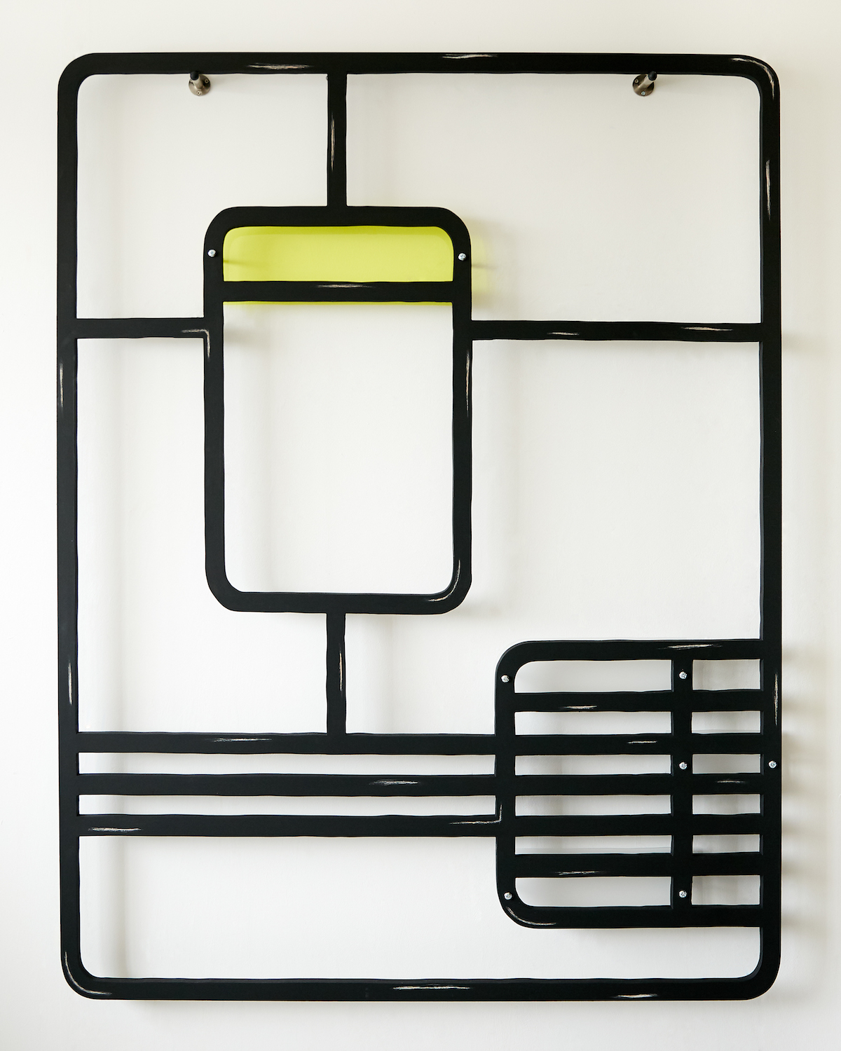 Milly Peck, Alight I, 2020. Emulsion on wood, perspex, coloured pencil, bolts. 161 x 122 x 7 cm.