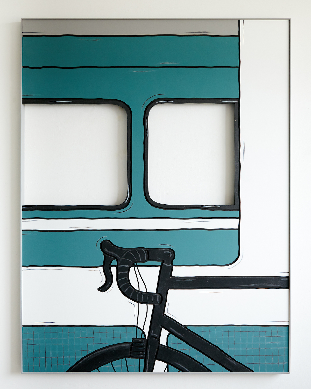 Milly Peck, Alternative Means of Travel, 2020. Emulsion on Valchromat, coloured pencil, wood. 113 x 86 x 4 cm.