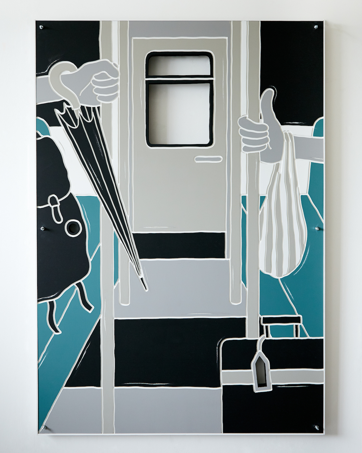 Milly Peck, Standing Passengers, 2020. Emulsion on wood, LED lights, bolts (double-sided). 131 x 91 x 4 cm.