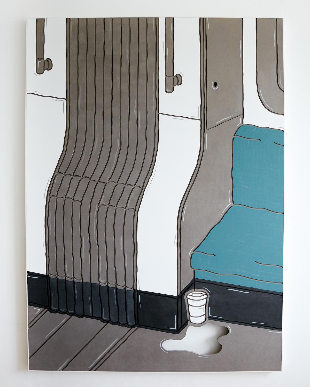 Milly Peck, The Unforgiving Hour, 2020. Emulsion on Valchromat, wood, coloured pencil. 168 x 120 x 4 cm.