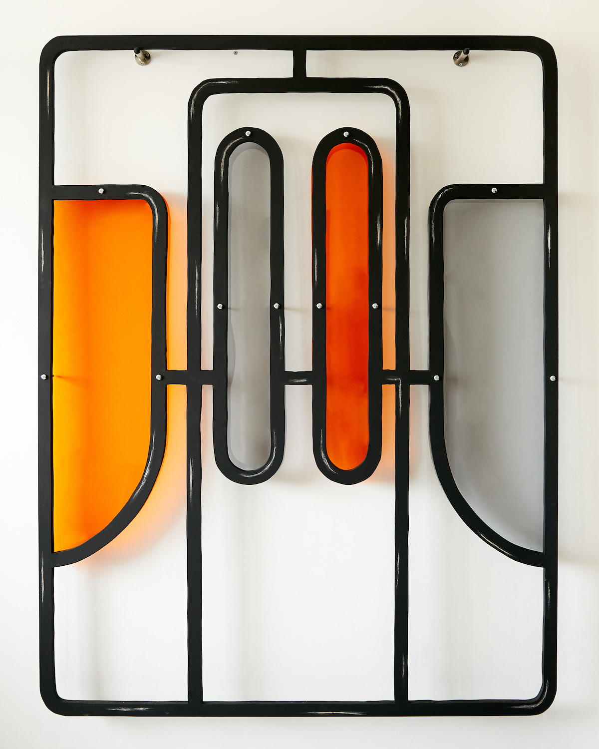 Milly Peck, Alight II, 2020. Emulsion on wood, perspex, coloured pencil, bolts. 161 x 122 x 7 cm.