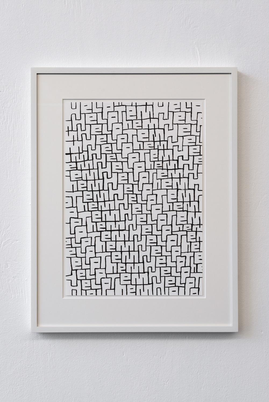 Sam Porritt, Help Them, 2018. Brush and ink on paper. Framed. 57.2 x 44.5 cm.