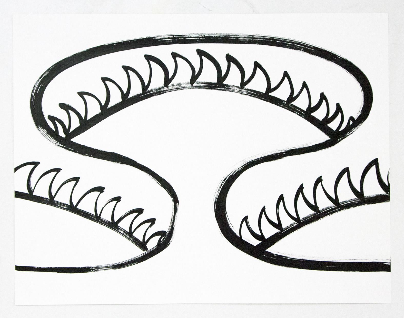 Sam Porritt, Lying in Wait II, 2019. Ink on Paper. Framed. 65 x 50 cm.