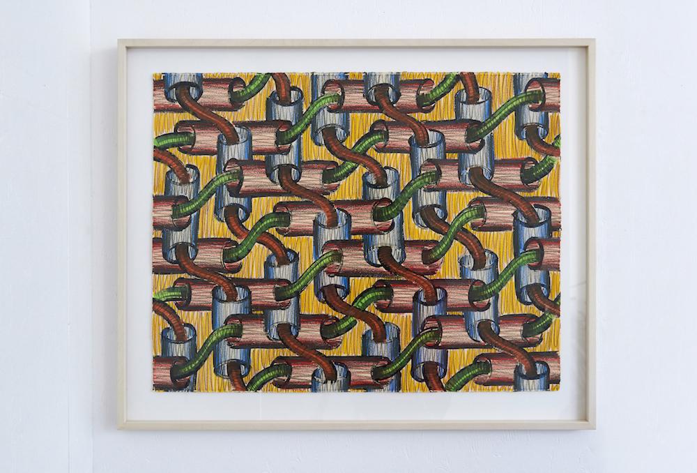 Sam Porritt, Rhyme Before Reason II, 2014. Brush, ink and wax crayon on paper. Framed. 70 x 54 cm.