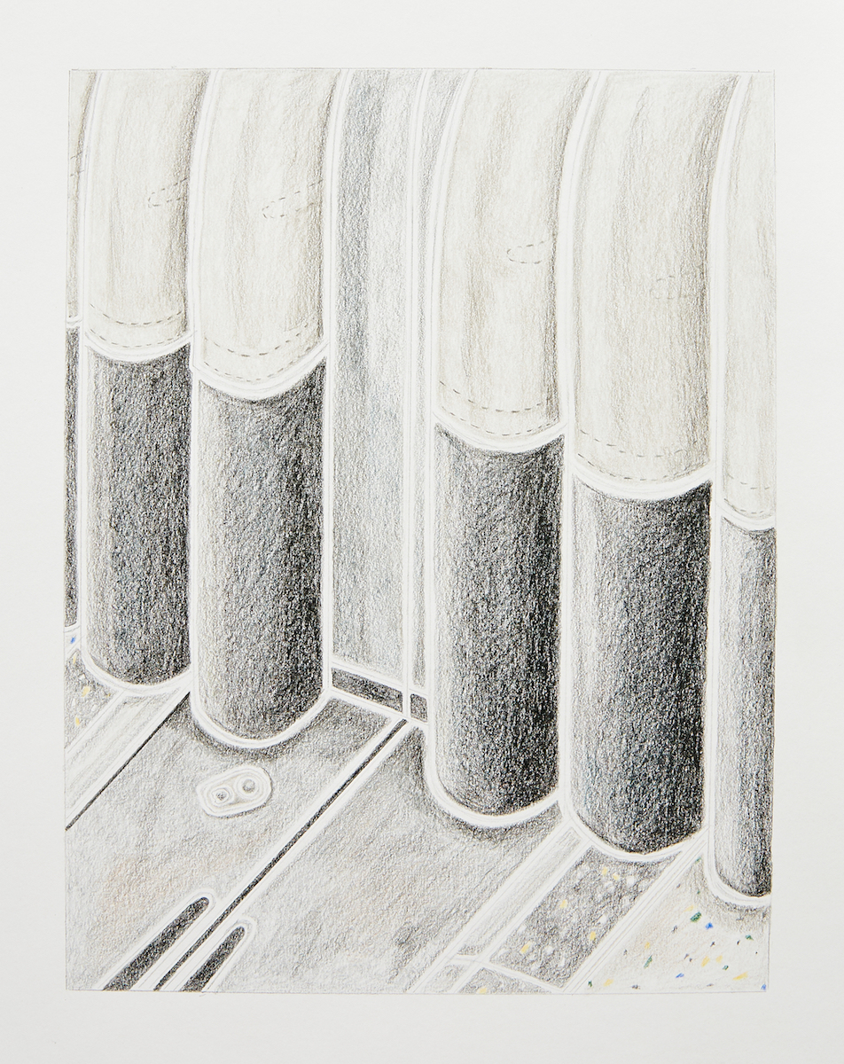 Milly Peck, A Matter of Routine I, 2020. Coloured pencil on 130gsm acid free paper. 42 x 29.7 cm.