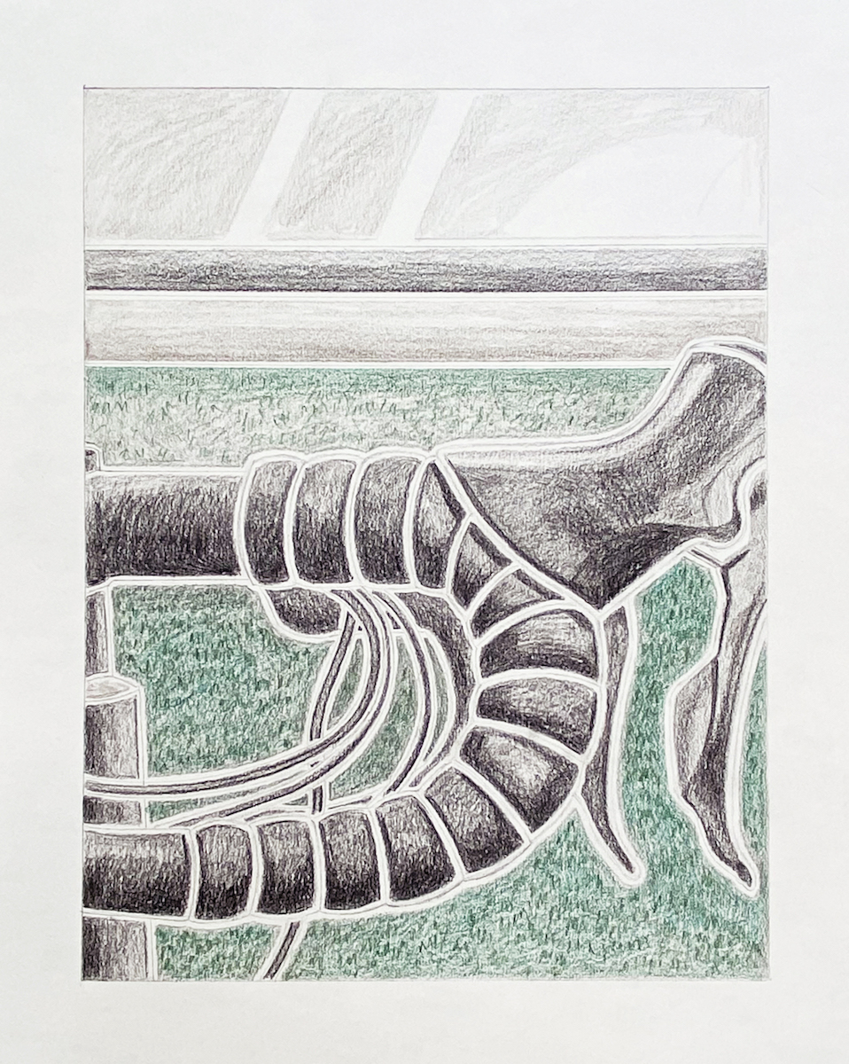 Milly Peck, A Matter of Routine V, 2020. Coloured pencil on 130gsm acid free paper. 42 x 29.7 cm.